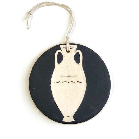 Dark Brown Tall Amphora Ornament