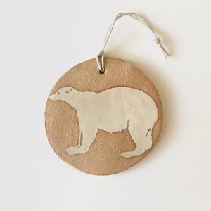 Ivory/Gold Polar Bear Ornament