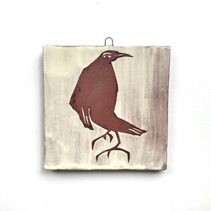 Crow - Medium Square Wall Plaque