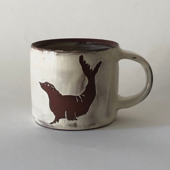 Red Stoneware Seal Mug
