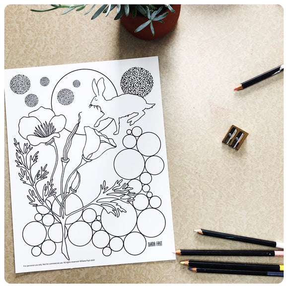 Running Rabbit + Poppy Coloring Page