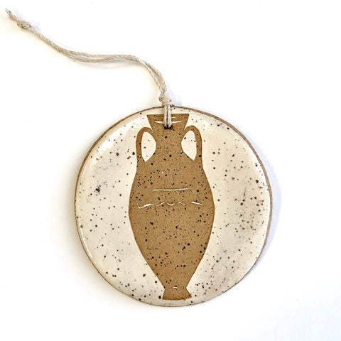 Speckled Gold Tall Amphora Ornament