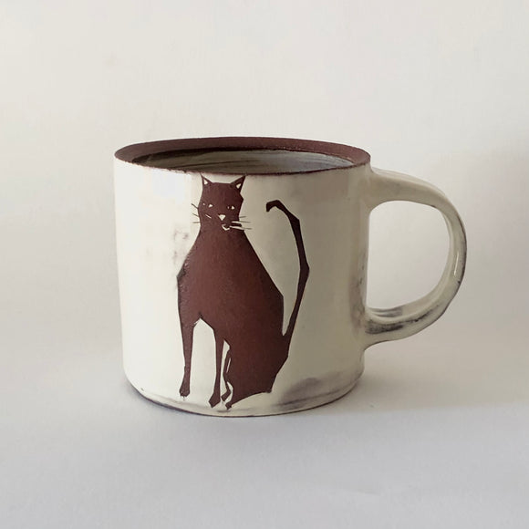 Red Stoneware Disinterested Cat Mug