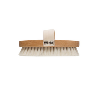 "5-1/4""L Beech Wood Bath Brush w/ Elastic Band & Metal Rivets, Natural"