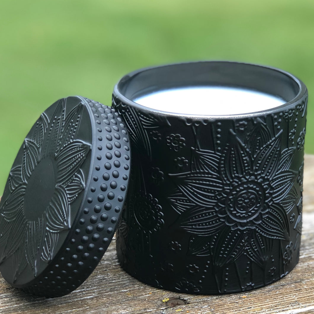 Coconut Wax Candle, 9 oz Ziva Matte Black