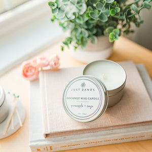 Coconut Wax Candle, 6 ounce Candle Tin