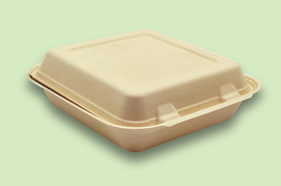 Sugarfiber™ 8x8 inch Square Hinged Container