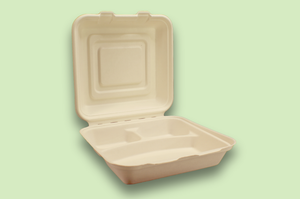 Sugarfiber™ 9x9 inch 3 Compartment Square Hinged Container