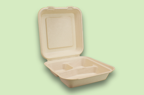 Sugarfiber™ 8x8 inch 3 Compartment Square Hinged Container
