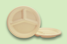 Load image into Gallery viewer, Sugarfiber™ 10 inch 3 Compartment Round Plates