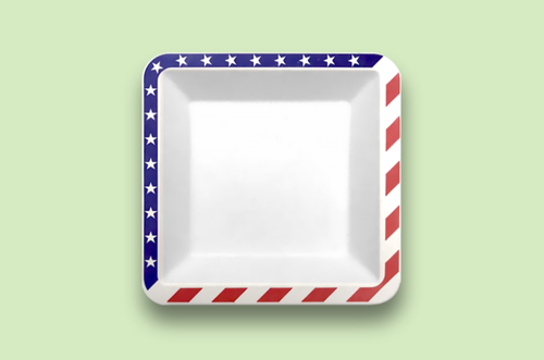 Sugarfiber™ 6.5 inch Square Plates with American Flag Print