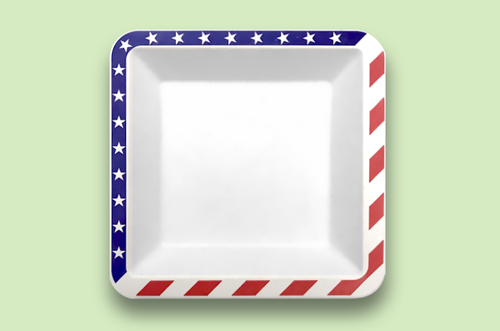 Sugarfiber™ 9.5 inch Square Plates with American Flag Print