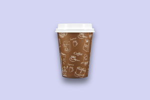12oz Brown Single Wall Paper Cups with Graphics