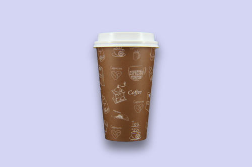 16 oz Brown Single Wall Paper Cups with Graphics