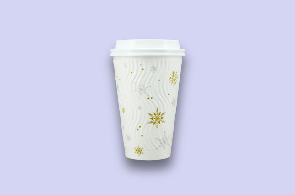 16oz Winter Themed Rippled Double-Wall Paper Cups