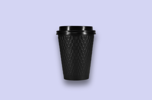 12oz Embossed Black Double-Wall Paper Cups