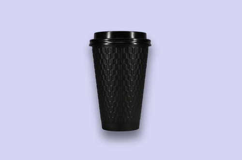 16oz Embossed Black Double-Wall Paper Cups