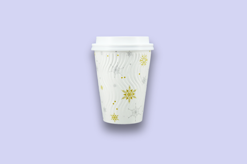 12oz Winter Themed Rippled Double-Wall Paper Cups
