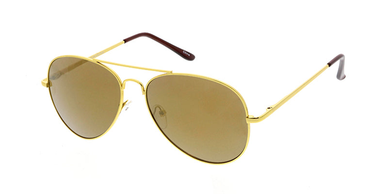 3065MIR/MH Unisex Standard Metal Aviator Spring Temples Gold Frame w/ Gold Mirror Lens
