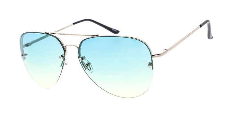 3396MH Women's Metal Large Rimless Half Frame Aviator w/ Two Tone Lens