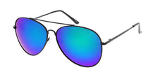 3480BLK/RV Unisex Metal Large Aviator Black Frame w/ Color Mirror Lens