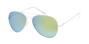 3481WHT/RV Unisex Metal Standard Aviator White Frame w/ Color Mirror Lens