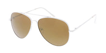 3482WHT/RV Unisex Metal Large Aviator White Frame w/ Color Mirror Lens