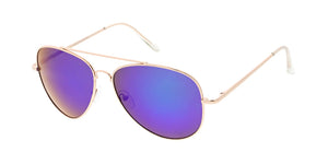 3484GLD/RV Unisex Large Metal Aviator Spring Temples Gold Frame w/ Color Mirror Lens