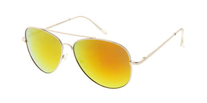 3544SLV/RV Unisex Metal Large Aviator Silver Frame w/ Color Mirror Lens