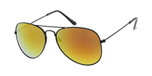 3549BLK/RV Unisex Metal Large Aviator Black Frame w/ Color Mirror Lens