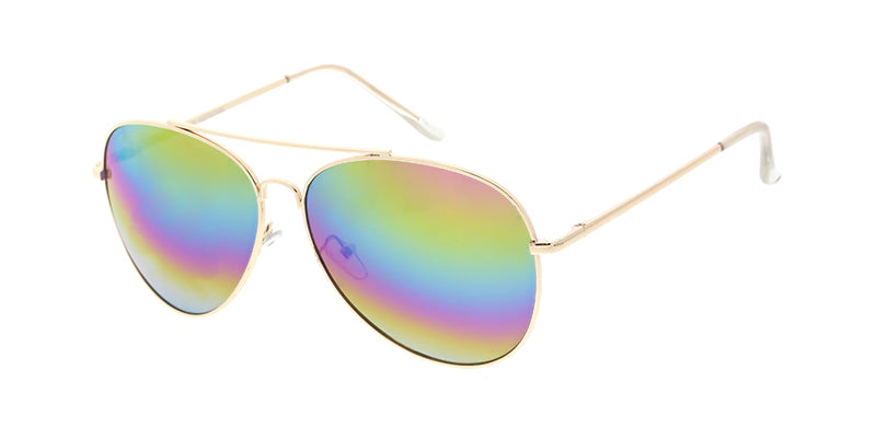 3556RV/MH Unisex Metal Large Aviator Spring Temples w/ Rainbow Mirror Lens