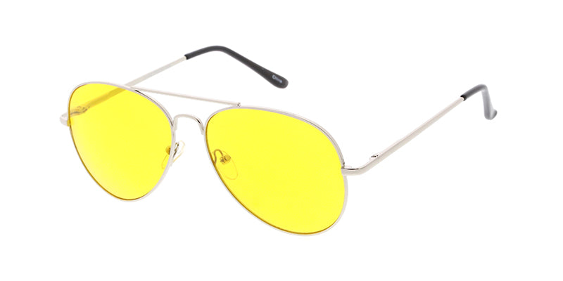 3561YEL/MH Unisex Standard Metal Aviator Spring Temples w/ Yellow Lens