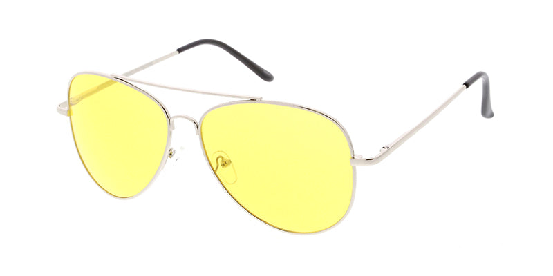3562YEL/MH Unisex Metal Large Aviator Spring Temples w/ Yellow Lens