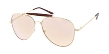 3581GLD/RV Unisex Metal Large Aviator Brow Bar Gold Frame w/ Color Mirror Lens