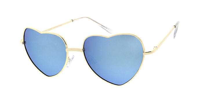 3612HRT/RV Women's Metal Medium Wire Heart Shaped Frame w/ Color Mirror Lens