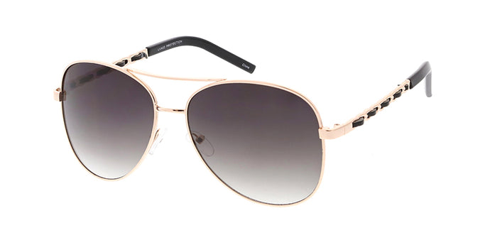 3663CL Women's Metal Aviator w/ Leather Weave Temple
