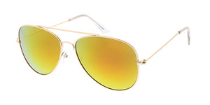 3687GLD/RV Unisex Metal Large Aviator Matte Gold Frame w/ Color Mirror Lens