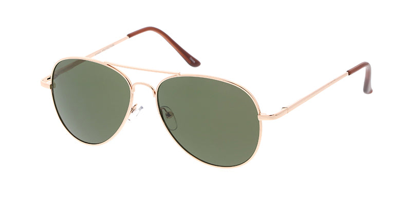 3693MH Unisex Metal Standard Aviator Spring Temples w/ Grey-Green Lens