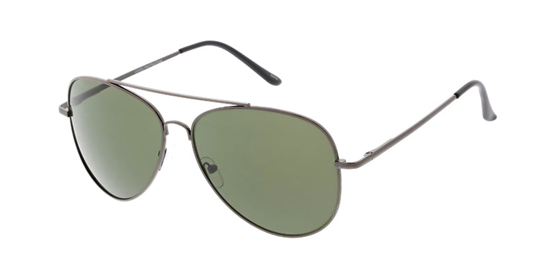 3694MH Unisex Metal Large Aviator Spring Temples w/ Grey-Green Lens