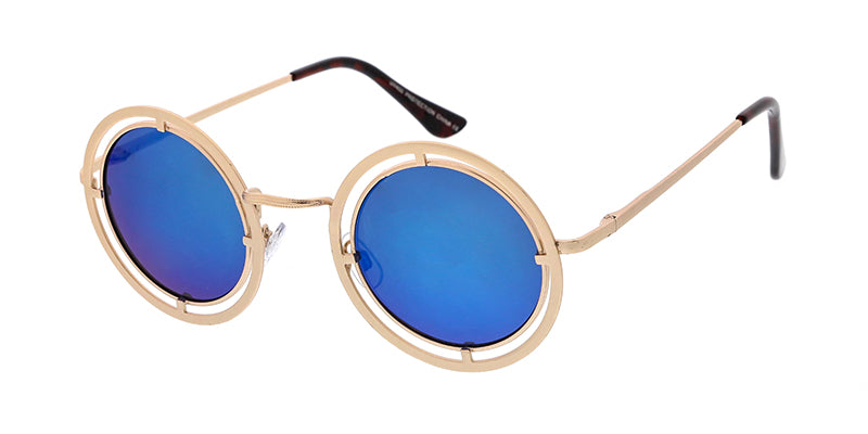 9f5a68ff237f3 ... 3817RV Unisex Metal Small Round Steampunk Vintage Inspired Frame w   Color Mirror Lens ...