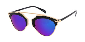 3837RV Unisex Combo Medium Single Bridge Designer Inspired Frame w/ Color Mirror Lens