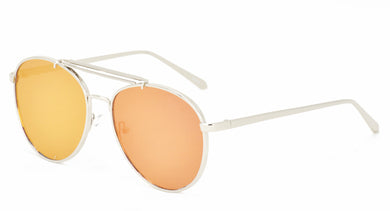 3862RV Unisex Metal Large Thick Aviator w/ Color Mirror Flat Lens