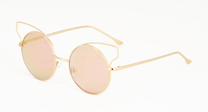 3882RV Women's Metal Round Wire Cat Eye w/ Color Mirror Lens