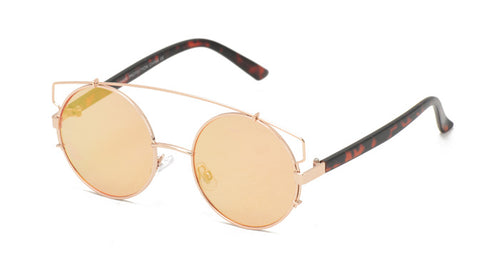 3921RV Women's Metal Large Round Wire Frame w/ Color Mirror Lens