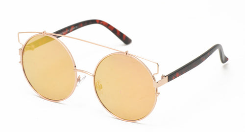 3923RV Women's Metal Oversized Round Wire Frame w/ Color Mirror Lens