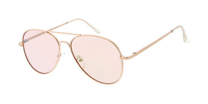 4010GLD/PNK Women's Metal Standard Aviator Gold Frame w/ Light Pink Flash Mirror (Single Color)