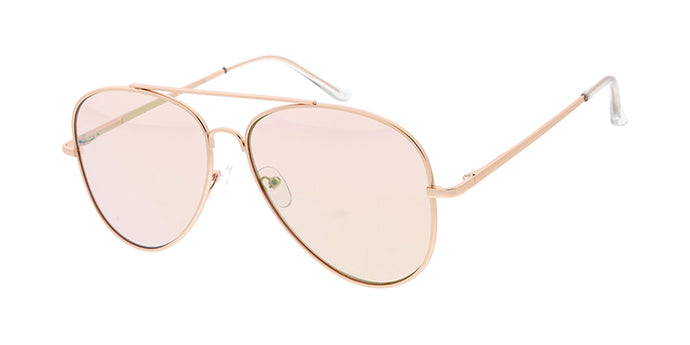 4011GLD/PNK Women's Metal Large Aviator Gold Frame w/ Light Pink Flash Mirror (Single Color)