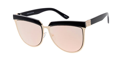 4096RV Women's Large Top Brow Designer Frame w/ Color Mirror Lens