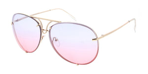 4165COL Unisex Retro Metal Aviator w/ Two Tone Lens