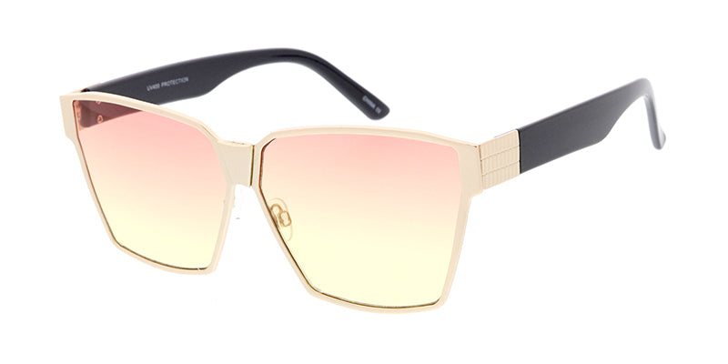 4205COL Women's Metal Oversized Square Frame w/ Two Tone Color Lens